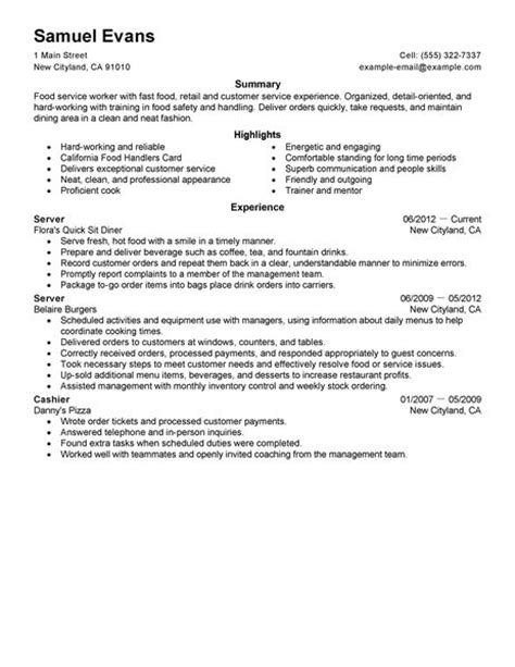 example of restaurant resume best fast food server resume example livecareer
