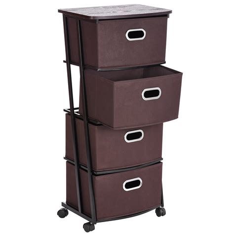 Storage Cart With Drawers And Wheels by 4 Shelves Organization Cart With 4 Nonwoven Collapsible