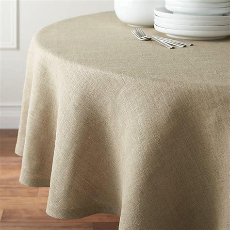 "Beckett Natural 90"" Round Linen Tablecloth  Crate And Barrel"