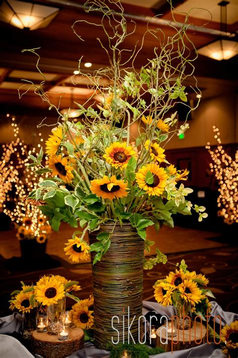 sunflower reception wedding flowers wedding decor