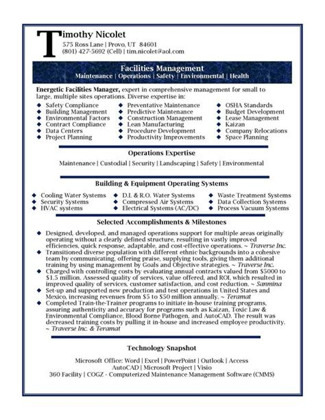 resume sles professional facilities manager resume