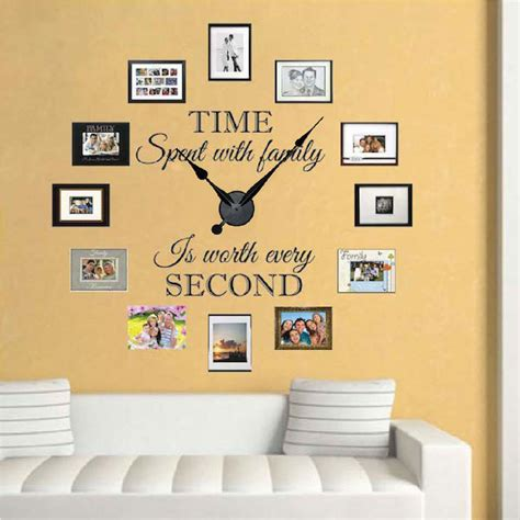 family clock wall decal clock stickers for walls trendy wall designs