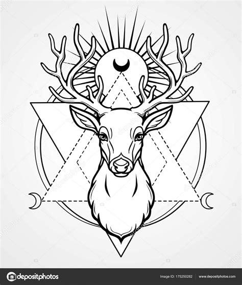dessin tete cerf coloriages tech tete de cerf geometrique