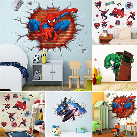 3d superhero kids room decor wall sticker boys girls diy