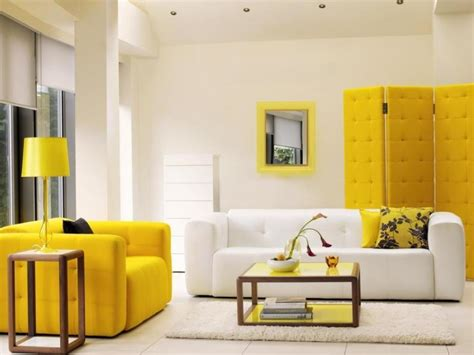 modern yellow living room furniture with white interior