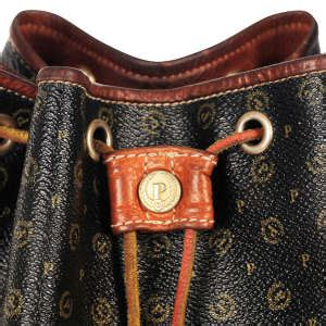 pollini vintage monogram drawstring shoulder bag