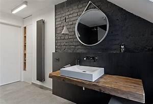 Plan Vasque Bois Brut : salle de bain noir et bois en 20 id es d 39 am nagement trendy ~ Teatrodelosmanantiales.com Idées de Décoration