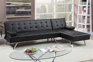 Black faux leather convertible sectional sofa bed for Small spaces sectional sofa black faux leather