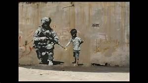 New Street art by Banksy . Famous graffiti wall art by ...