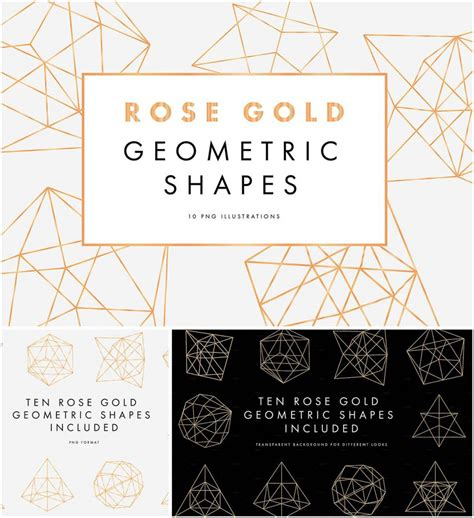 rose gold geometric shapes collection