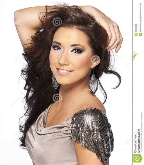Beautiful Brunette Hair Model With Blue Eyes Royalty Free