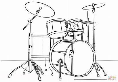Coloring Bateria Desenho Dibujo Drum Drums Colorear