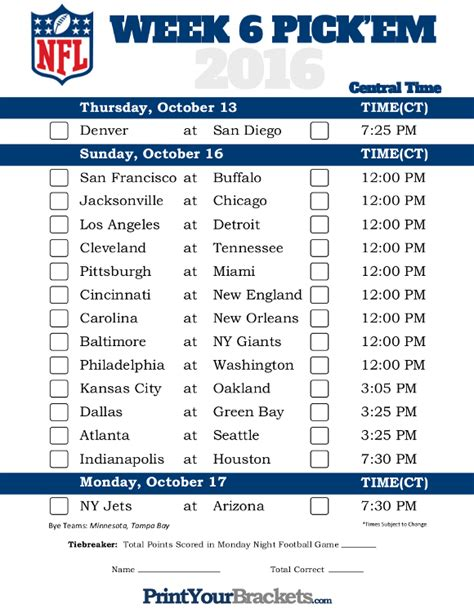 central time week  nfl schedule  printable