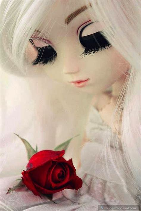 doll girl cute  red rose flower beautiful