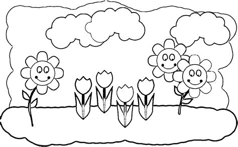 Spring Flowers Black And White Clip Art
