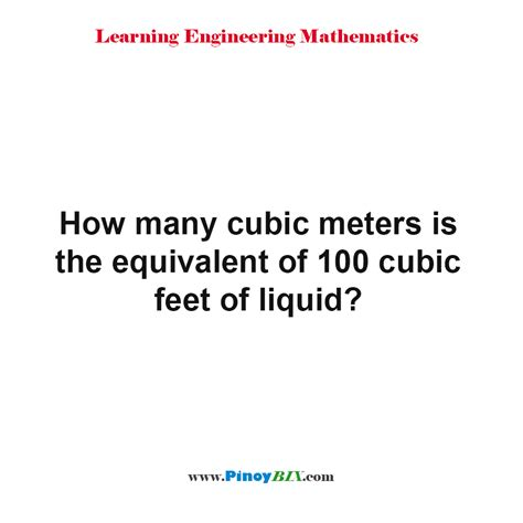 Solution How Many Cubic Meters Is The Equivalent Of 100