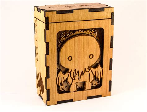 Wooden Deck Box Mtg by Cthulhu Chibi H P Lovecraft Magic The Gathering Deck