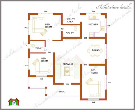 home plan com three bedrooms in 1200 square kerala house plan