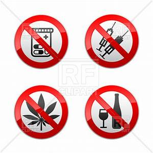Prohibiting sign - drugs and alcohol Vector Image of ...