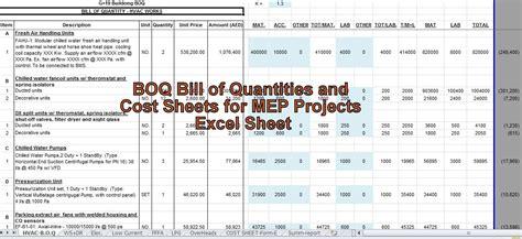engineering xls boq bill  quantities  cost sheets