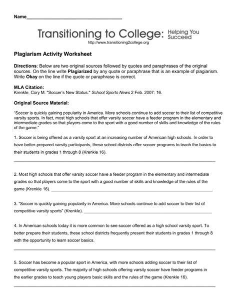 plagiarism activity worksheet mulvane school district