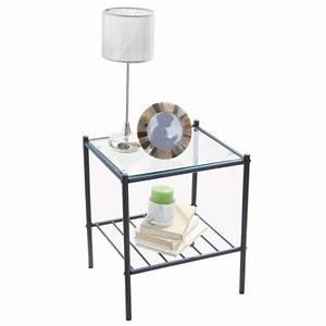 table de chevet verre metal With table de chevet metal