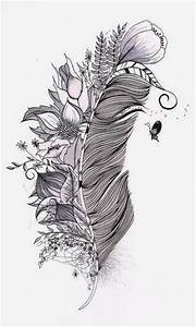 Feather with flowers and insects | Pattern/print ...