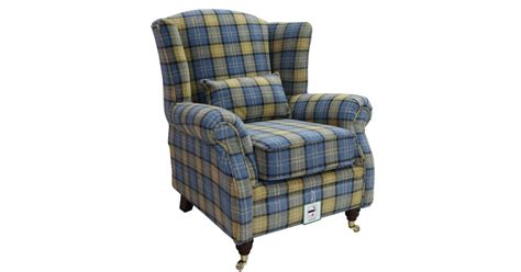 Check Fabric High Back Wing Chair