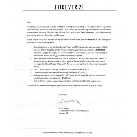 Leaked Memo Shows Forever 21 Demoting Fulltimers To Part