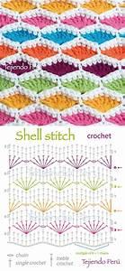 Shell Stitch - Free Crochet Diagram - (youtube) | Crochet ...