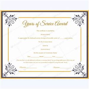 years of service award certificate templates word layouts With certificate for years of service template