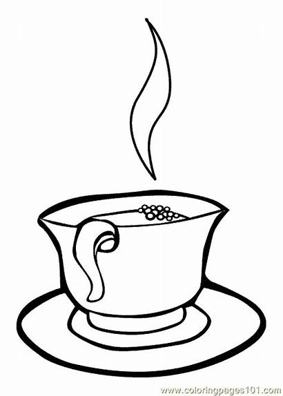 Coloring Cup Tea Pages Drink Drinks Colouring