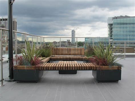 railroad planters  bench seating timber planters
