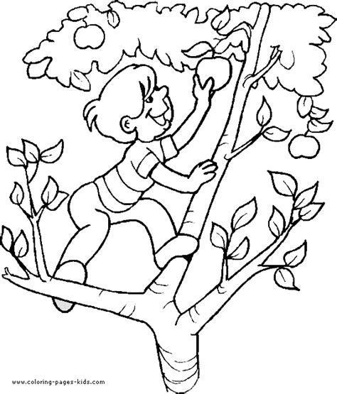 Kleurplaat Klimmen by Boy Climbing An Apple Tree Boy Color Page Family