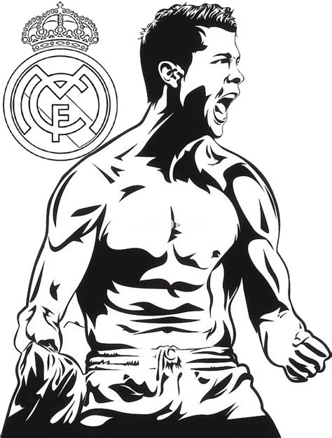 ronaldo real madrid coloring  drawing page