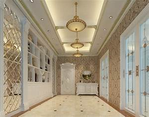 3D interior wallpaper and suspended ceiling