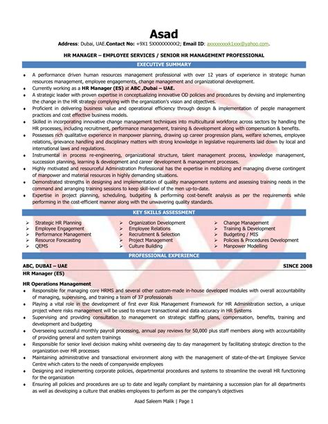 hr manager sle resumes resume format templates