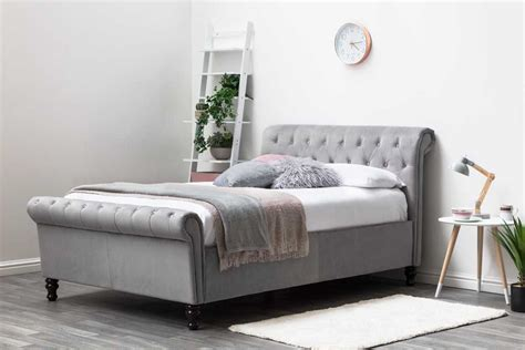 Bed Size by Lambeth Ottoman Grey Velvet Fabric Upholstered Sleigh Bed