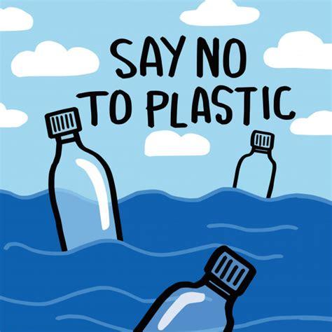 Say no to plastic. motivational phrase.   Premium Vector