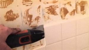 Your handyman removing ceramic tile youtube for Removing tile from walls in bathroom