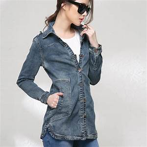 2015 new spring long jean jacket for women wild long sleeved denim jacket coat -in Basic Jackets ...