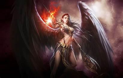 Fire Warrior Angel Wings Magic Anime Eyes