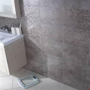 carrelage mural taupe cemento 25 x 40 cm castorama sdb With carrelage salle de bain taupe