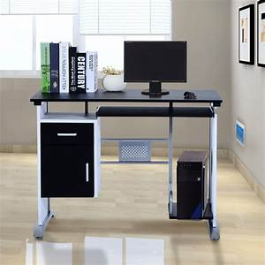 Homcom, Computer, Desk, Table, Home, Office, Furniture, With, Keyboard, Tray, And, Cpu, Stand, Laptop, Pc