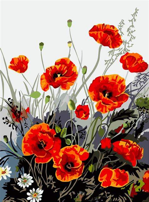 Poppy Flower Canvas Painting DIY Frameless Picture