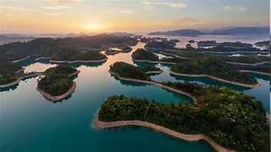 Wallpaper, Landscape, Forest, Sunset, China, Lake, Nature, Sky, Tourism, Green, Yellow, Horizon