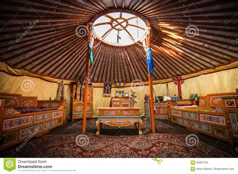 traditional colorful yurta interior   nomadic