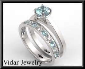 light blue engagement rings light blue aquamarine and wedding ring by vidarjewelry