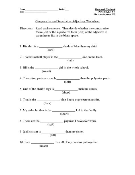 comparative and superlative worksheets search comparative superlative adjectives
