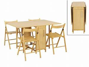 Ensemble modulable table + 4 chaises EMELINE Hêtre massif